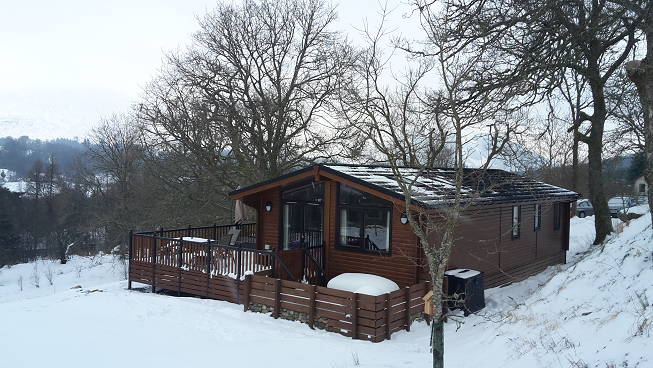 "Snow from the ""Beast from the East"" at Balquhidder Mhor Lodges"
